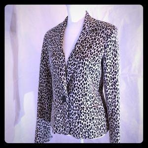 Animal Print Textured Jacket Blazer